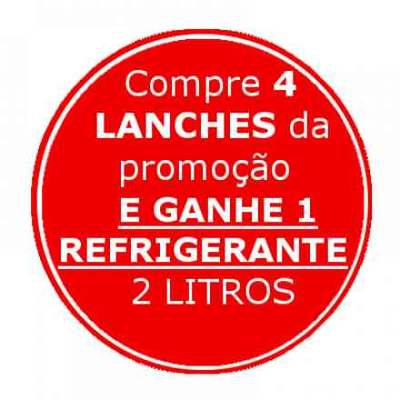 APROVEITE!!! Compre 4 Lanches FOMÃO e ganhe GRÁTIS 1 refrigerante 2 litros (Pepsi, Guaraná, Soda, Sukita Laranja ou Uva) - Escreva no campo observação qual o refrigerante escolhido