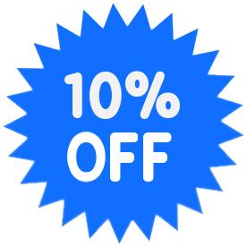 APROVEITE! 10% de desconto em todo o seu pedido por tempo limitado!